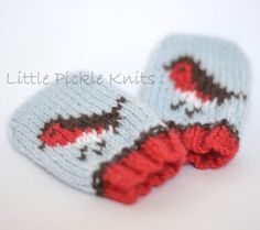Baby beanie and baby mittens CHRISTMAS ROBINS BUNDLE OFFER! Knitting pattern by Little Pickle Knits