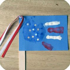 4th of July kids hand print flag