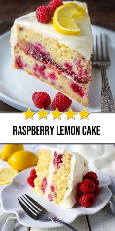 An old fashioned Raspberry Lemon Cake recipe with lemon buttercream frosting, made with yogurt, fresh raspberries, and lots of lemon juice for a sweet/tart delicious dessert. Köstliche Desserts, Lemon Desserts, Lemon Recipes, Baking Recipes, Cake Recipes, Dessert Simple, Raspberry Lemon Cakes, Rhubarb Cake, Savoury Cake