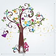Fairy Wall Decals - Fairyland Tree with Flowers and Stars - evgie