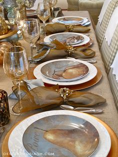Thanksgiving table setting | Using DIY painted gourds and a special color palette to celebrate two holidays | #Designthusiasm