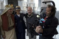 New BTS picture of Robert Pattinson, Nicole Kidman, Werner Herzog and Peter Zeitlinger on QUEEN OF THE DESERT set  Via @QueenFilmFan