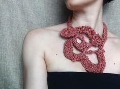 Silk necklace pink necklace yarn jewellery bib by WearitCrochet
