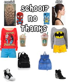"""School? No thanks."" by cat-horan777 ❤ liked on Polyvore"