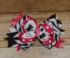 Kitty Cat Girls Hair Bow - Boutique style Girls Stacked Hair bow - pink, white, black