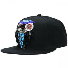 Fashion hip hop style baseball caps for young with plastic beads sewn owl  design Bead Sewing 2e7c4d85f15b