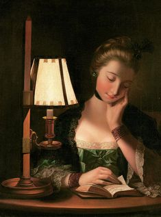 Woman Reading by a Paper bell Shade Art Print by Henry Robert Morland. All prints are professionally printed, packaged, and shipped within 3 - 4 business days. Girl Reading Book, Reading Art, Woman Reading, Rococo, Baroque, Female Portrait, Portrait Art, Victorian Paintings, Victorian Portraits