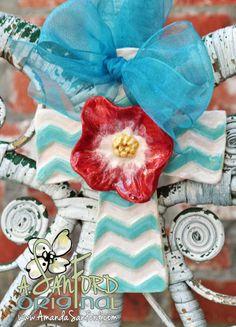 Chevron Flower Handbuilt Pottery Cross