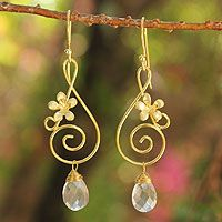 Gold plated rose quartz flower earrings, 'Music Blossoms' from @NOVICA, They help #artisans succeed worldwide.