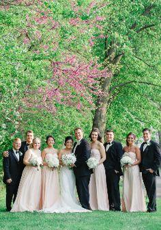 (Photo by Katherine Murray Photography) #blacktux #blush #springweddings #bridalparty #groomsmen #groom #bride #bridesmaids #springweddings