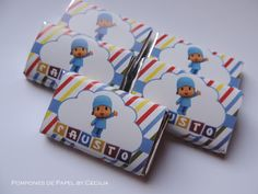 Golosinas Personalizadas Pocoyo 2nd Birthday Parties, Boy Birthday, Birthday Ideas, Ideas Para Fiestas, Dessert Table, First Birthdays, Gift Wrapping, Baby Shower, Candy