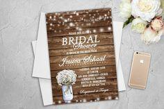 Rustic Bridal Shower Invitation Printable String Lights Rustic Bridal Shower Games Baby's Breath Flowers Mason Jar Wood Digital File Invite