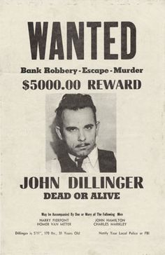 Vintage Apple Collection Solid-Faced Canvas Print Wall Art Print entitled John Dillinger Wanted Poster Mafia Party, Real Gangster, Mafia Gangster, Michelle Phillips, Harry Dean Stanton, Famous Outlaws, Le Far West, Nouvel An, Serial Killers