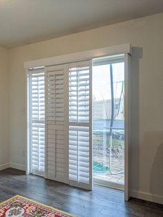 Patio Door Shutters, Sliding Patio Doors, Unique Window Treatments, Door Window Treatments, Sliding Door Treatment, Bay Window Design, Patio Door Coverings, Painting Shutters, Shutter Doors