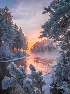 Finland by Asko Kuittinen ~ Pink River On Silver Ice...