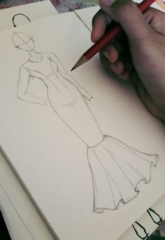 Fashion Design Sketches 769060073850006917 - Croquis Source by rloulia Vintage Fashion Sketches, Fashion Design Sketchbook, Fashion Design Drawings, Fashion Drawing Dresses, Fashion Illustration Dresses, Drawing Fashion, Dress Design Drawing, Dress Design Sketches, Fashion Figures