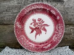 "Red Transferware 9"" SPODE CAMILLA Side Plate, Ironstone Pattern of Red and White Floral, Serving, English Transferware by CottonCreekCottage on Etsy"