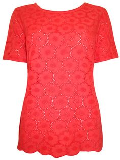 NEW Marks and Spencer Per Una Floral Coral Broderie Anglaise T Shirt Top Summer