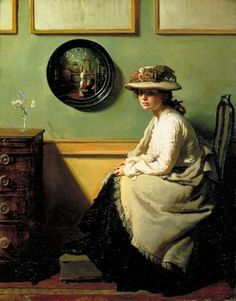 William Orpen - The Mirror First of all...this painting is beautiful. What makes it extra special is the mirror, in which you can just barely see the painter at his work, and a tall, beautifully dressed woman standing with him. The beautiful woman gives a whole different dimension to the look on the sitter's face.