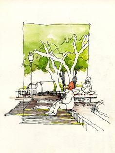 Urban sketch by Land8 member Chunling Wu.