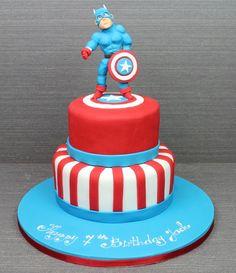 Captain America 2 Tier Birthday Cake cakepins.com