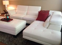 Shiloh White 2 Pc Blended Leather Sectional #Roomstogo
