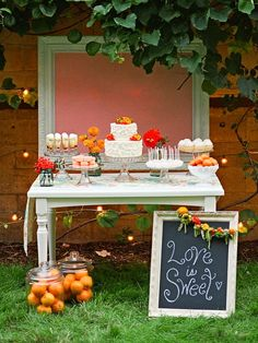Elegant Picnic Dessert Table (could work nicely indoors too!) www.facebook.com/yourvictoriawedding