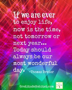 Enjoy life now.  www.GratitudeHabitat.com