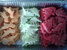 Watermelon, cantaloupe and honeydew cut into dinosaurs with cookie cutters! Perfect healthy snack for a dinosaur themed birthday party. Dinosaur Birthday Party, 4th Birthday Parties, Birthday Fun, Dinosaur Themed Food, Birthday Ideas, Elmo Party, Mickey Party, Dinosaur Snacks, Dinosaur Cookies