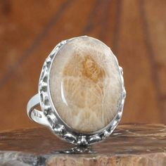 AMAZING 925 STERLING SILVER FOSSIL CORAL EXCLUSIVE RING 6.86g DJR10548 SZ-7…
