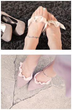 DIY scalloped lace socklettes enhance a plain pair of shoes.