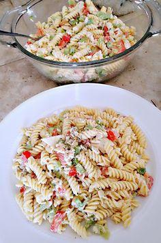 parmesan caesar pasta salad with crabmeat - gluten free.