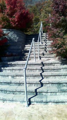 15 Customer Railing Examples for Concrete Steps Pipe Railing, Stair Railing, Railings, Concrete Steps, Concrete Wall, Front Stairs, Backyard, Patio, Staircases