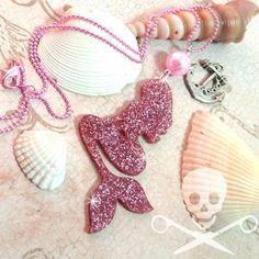 PINK GLITTER MERMAID - Laser Cut Acrylic Charm Necklace on Etsy, $14.95