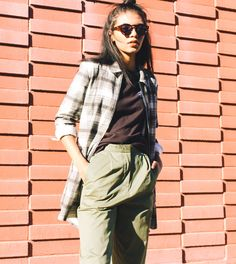 Woman wearing SYLVIA PANT and LINCOLN SHIRT JACKET. Takes you to new arrivals category page.