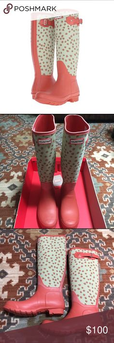 Hunter Tall Festival Floral Boots Brand new with box!  Coral and pistachio green Floral classic tall boots. Hunter Shoes Winter & Rain Boots