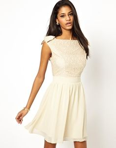 f5834746c36 Image 1 of Little Mistress Prom Dress with Lace Bardot Top White Lace  Cocktail Dress