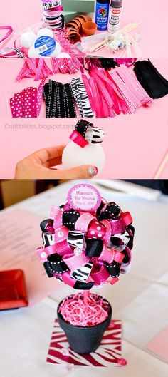 Craftibilities: DIY Table Topiary - Super cute PARTY decoration idea for a baby shower or party! Diy Projects To Try, Craft Projects, Festa Monster High, Party Decoration, Baby Shower, Ribbon Crafts, Diy Table, Diy Party, Party Ideas