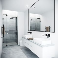 Bathroom decor for the master bathroom remodel. Discover bathroom organization, bathroom decor tips, bathroom tile a few ideas, master bathroom paint colors, and much more. Modern Bathroom Design, Bathroom Interior Design, Modern Bathrooms, Small Bathrooms, Farmhouse Bathrooms, Marble Bathrooms, Luxury Bathrooms, Dream Bathrooms, Modern Faucets