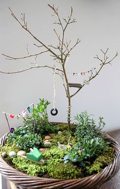 Adorable fairy garden on a pot. Buntings and tyre swing and colourful clothes on a line.