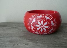 Red and White handpainted wooden bracelet by Aramar on Etsy, $18.00