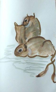 Degu painting 2 Degu, Fox Cookies, Woodland Party, My Princess, Rats, Home Art, Cute Animals, Painting, Passion