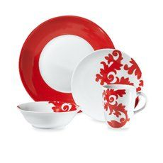 Crisp white and vibrant red give any table a pop of exciting color. This coordinating dinnerware collection combines solid and floral accents for a complete look that enhances any occasion
