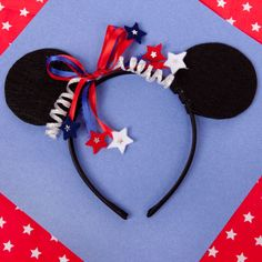 DIY Minnie Mouse 4th of July Headband - use different ribbon for birthdays or other holidays.