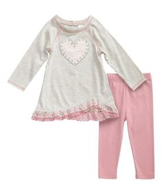 Look at this #zulilyfind! Oatmeal Lace-Trim Top & Pink Leggings - Infant, Toddler & Girls #zulilyfinds