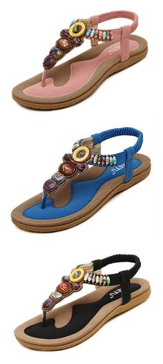 4f3d104280adeb Big Size Bohemia Bead Clip Toe Elastic Flat Beach Flip Flops Sandals is  comfortable to wear. Shop on NewChic to see other cheap women sandals on  sale.