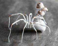 spider-mushrooms textil art, insect, Soft sculptur,home decor, unique design, eco friedly,fabric beetle