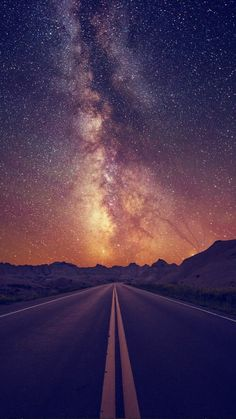 Starry Sky On The Road iPhone 6 Wallpaper Iphone 6 Wallpaper, Galaxy Wallpaper, Phone Backgrounds, Wallpaper Backgrounds, Wall Papers Iphone, Cellphone Wallpaper, Pretty Pictures, Beautiful Sky Pictures, Star Pictures