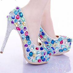 Shoespie Colorful Rhinestone Bridal Shoes