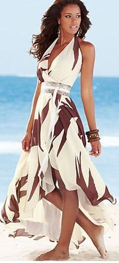 Off White Multi Belted Print Maxi by Venus